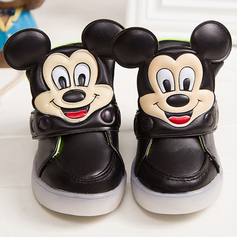 Children shoes girls shoes with light 2016 all seasons fashion character Mickey kids boys sneakers design outdoor baby boots(China (Mainland))