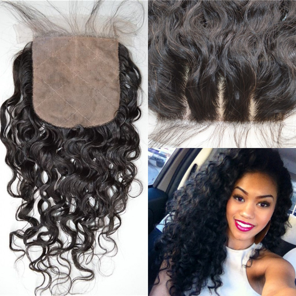 7A Virgin Hair Silk Base Closure 4x4 Chinese Water Wave Human Hair Closure With Bleached Knots Free Middle 3 Part Closures(China (Mainland))