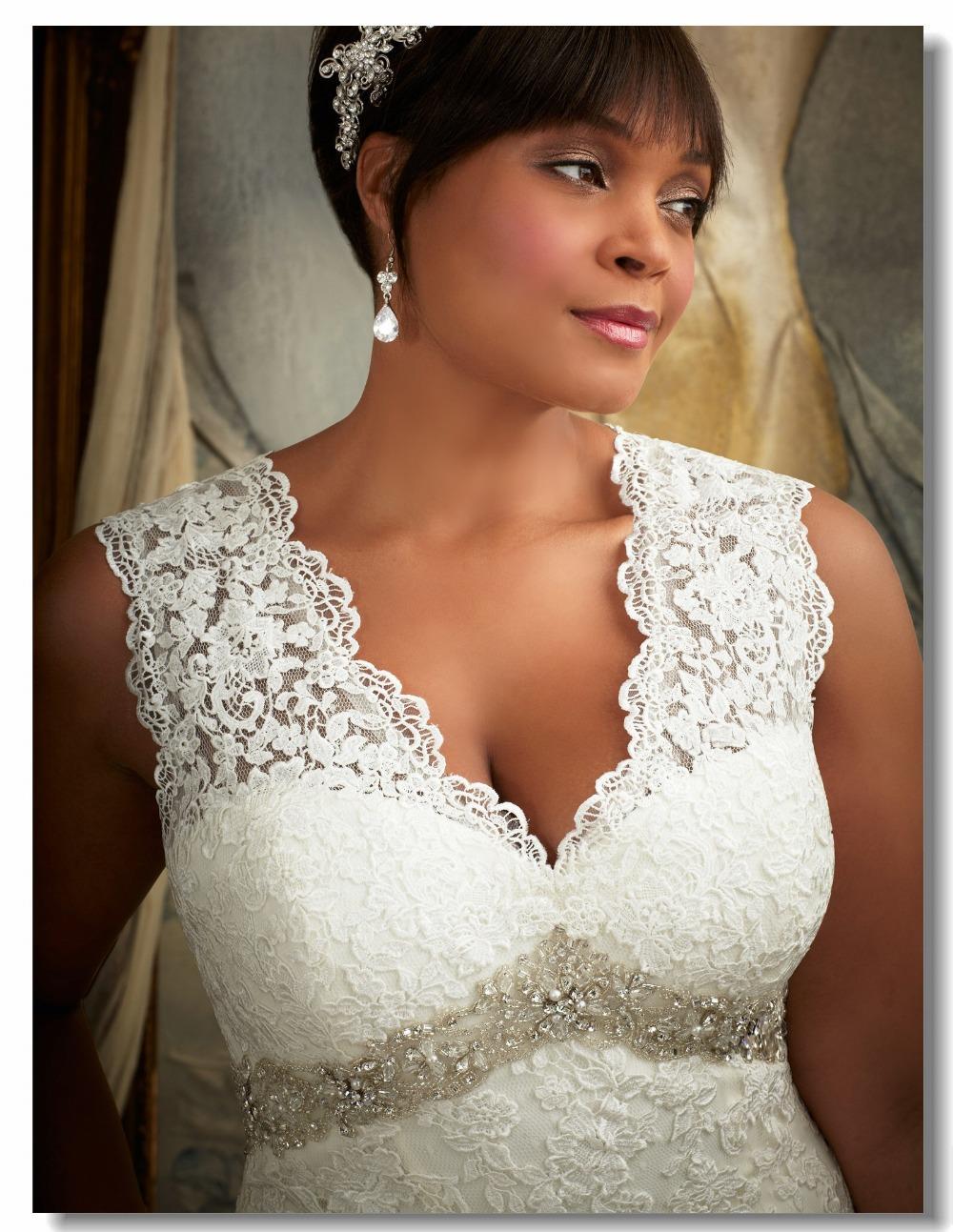 Buy v neck lace plus size 28 wedding for Plus size wedding dresses size 28