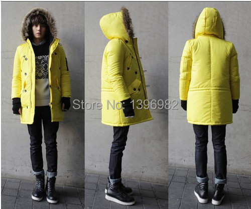 2015 winter Men Down Jacket coat Fashion Fur Collar Hooded Down Three Color Options