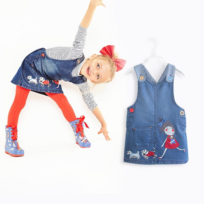 2015 Summer Baby Vestido Infantil Girls Denim Dress Kids Dresses Children 4t Girl Clothes Wholesale 5PCS/LOT(China (Mainland))