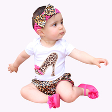 Set for Baby Newborns 2015 Summer 100% Cotton Short Sleeve Leopard Bodysuit + Short Pants Ruffles Lace Baby Girl Clothing Sets