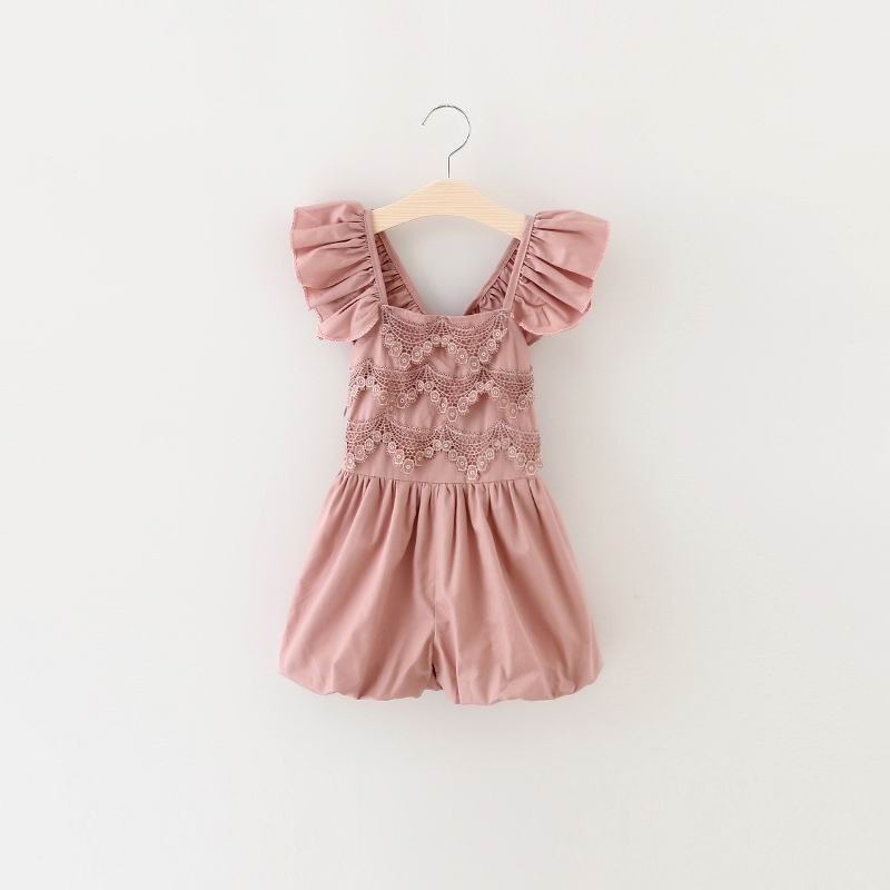 2016 New Girl Overalls Pants Lace Ruffle Cotton Summer One Piece Pants Wholesale Children Clothing 2-7T 16887<br><br>Aliexpress