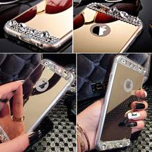 Fashion Lady Necessayr Bling Rhinestone Mirror Case For Iphone 6 6S 4.7inch Clear TPU Frame + Gold Silver Soft Back Cover Shell
