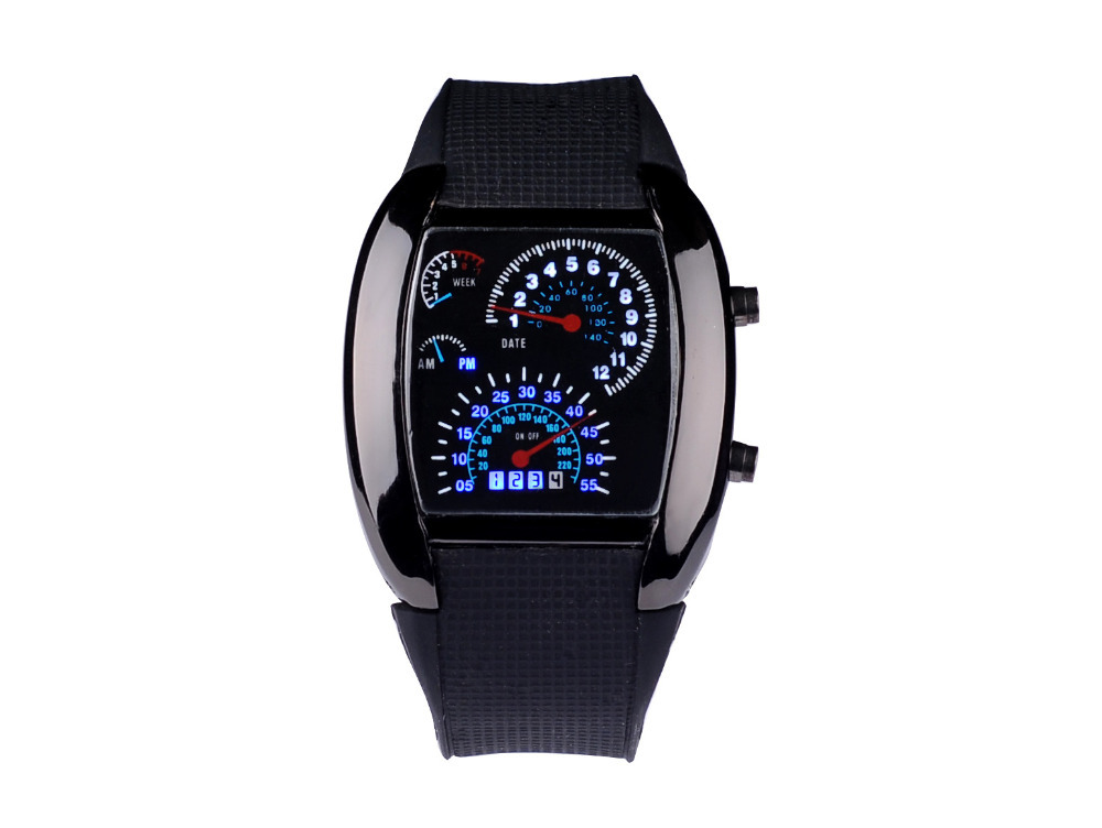Electronic Light Digital LED Military Watch Men Race Speed Car Dot Fashion Luxury Brand Rubber Strap Men's Watches orologio(China (Mainland))
