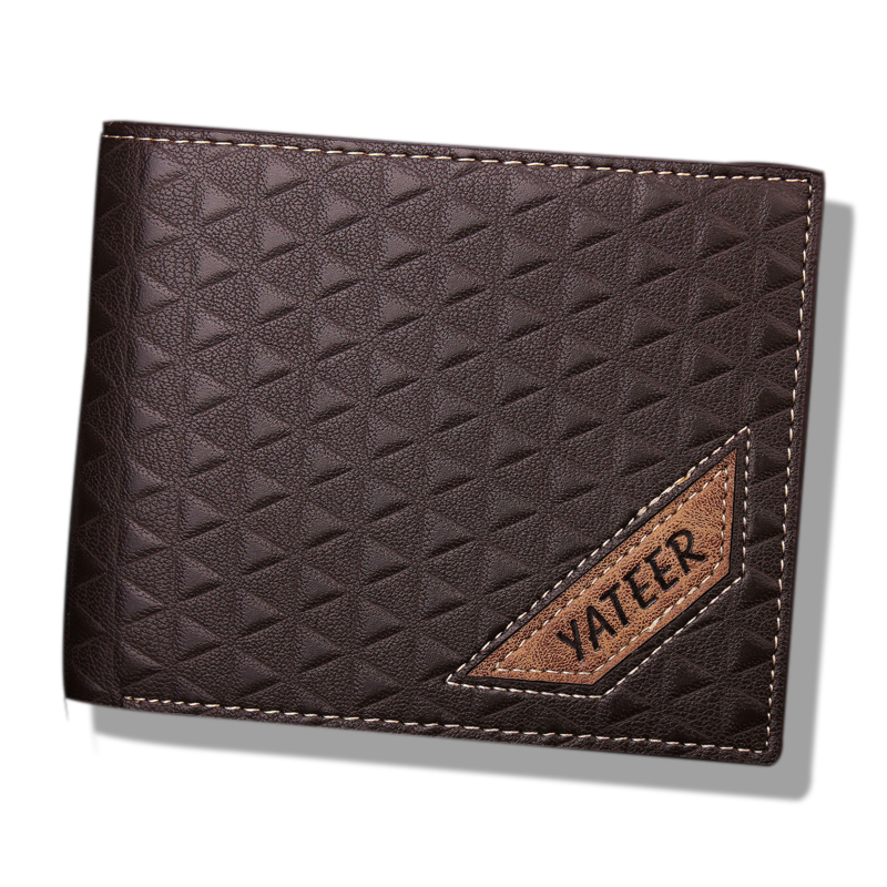 2016 vintage designer luxury genuine leather plaid slim wallet male thin small bifold purse credit card holder dollar price coin(China (Mainland))