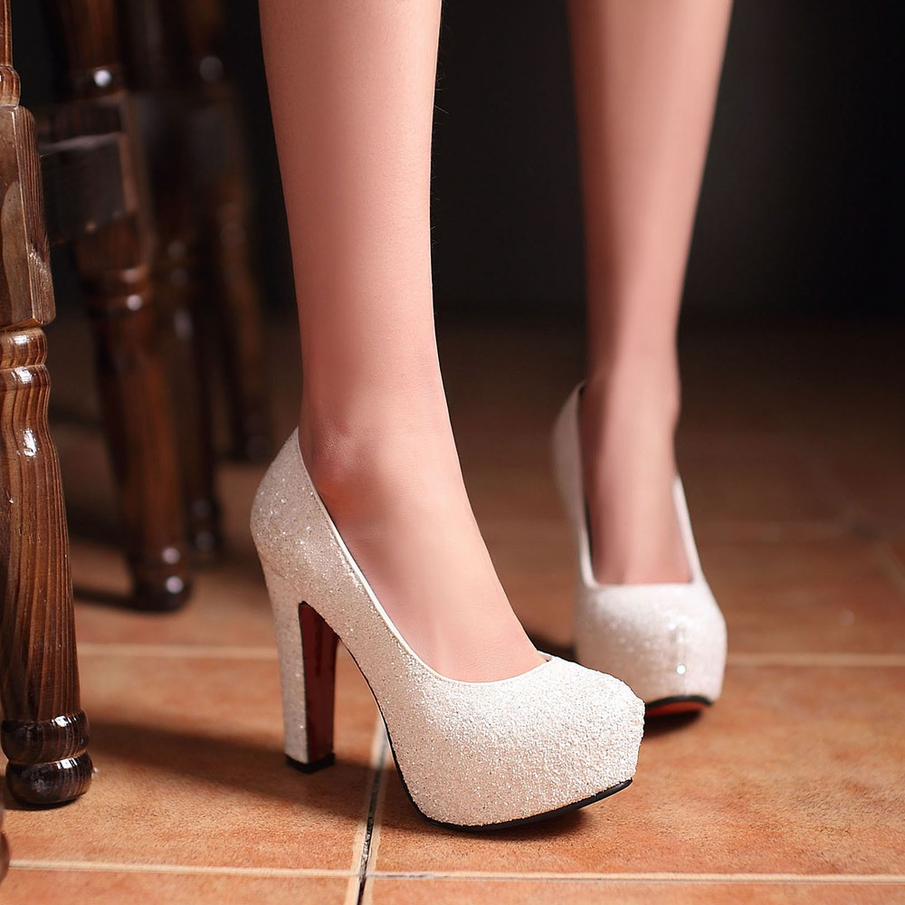 White Thick Heels