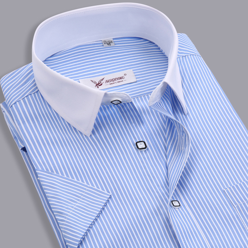 Men Dress Shirts 2015 Brand New Striped Shirt Mens Business Short Sleeve Slim Fit Formal Camisa Masculina Social Shirt Male 4XL(China (Mainland))