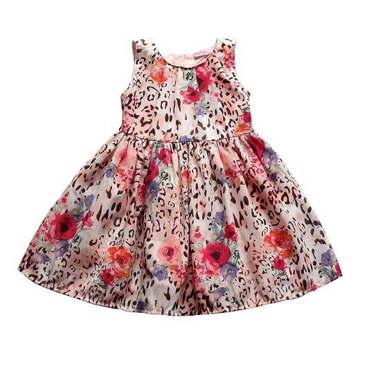 Little Girl Floral Leopard Dress Kids Summer Cotton Dress French Brand Leopard Print Casual Dress(China (Mainland))
