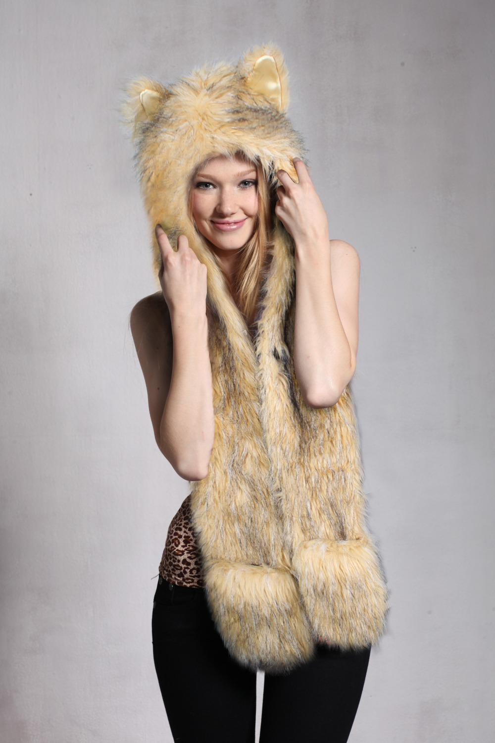 New Women Men Unisex Fashion Novelty Winter Warm Hat With 100% Polyester Faux Fur Cap 4809