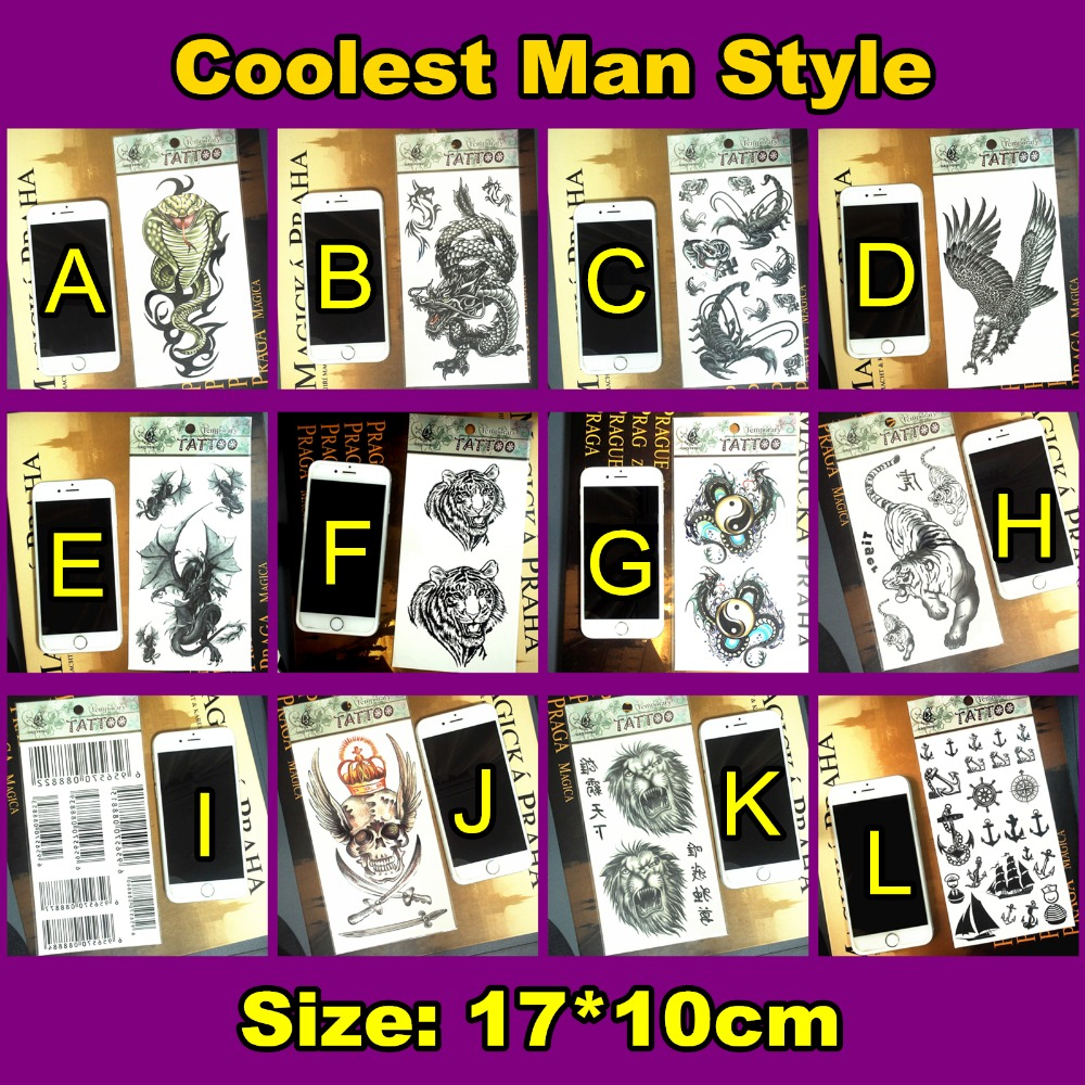 Siberian Tiger Army Man Style Temporary Body Art Flash Tattoo Stickers 17 10cm Waterproof Henna Tatoo