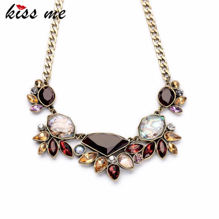 Shijie Jewelry Factory 2016 Elegant Gold Color Chain Rhinestone Necklace Women Fashion Shourouk Statement Necklaces Pendants