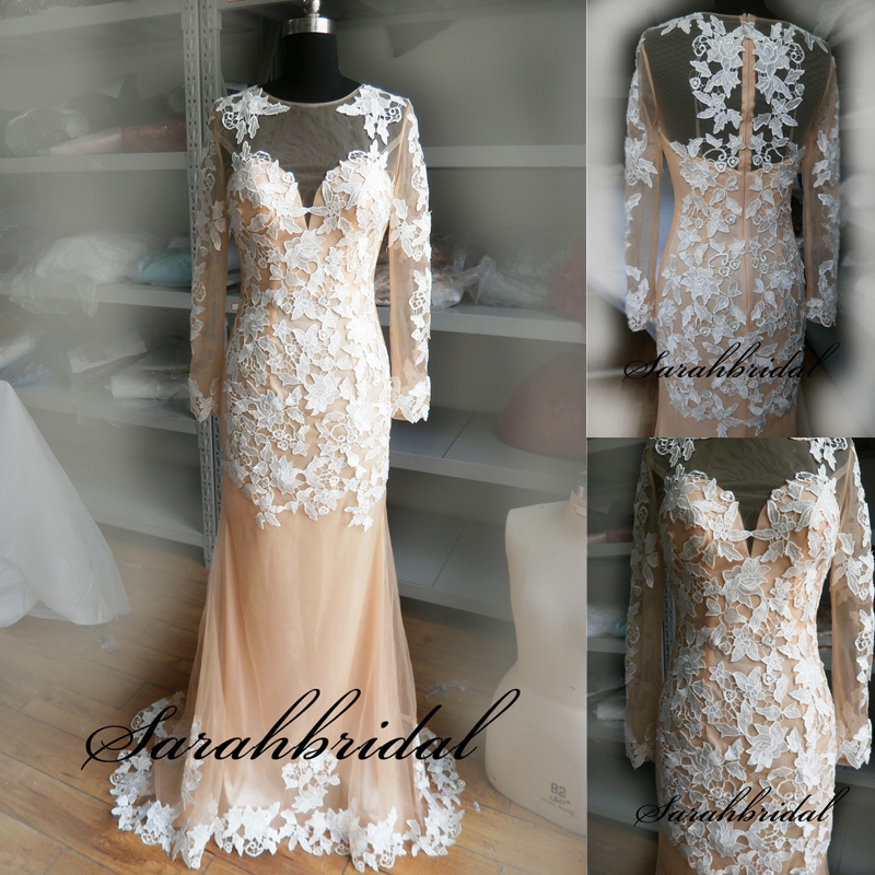 Sexy Sheer O-Neck Long Evening Dresses Luxury White Lace dress party evening elegant for wedding plus size 2015 New arrival(China (Mainland))
