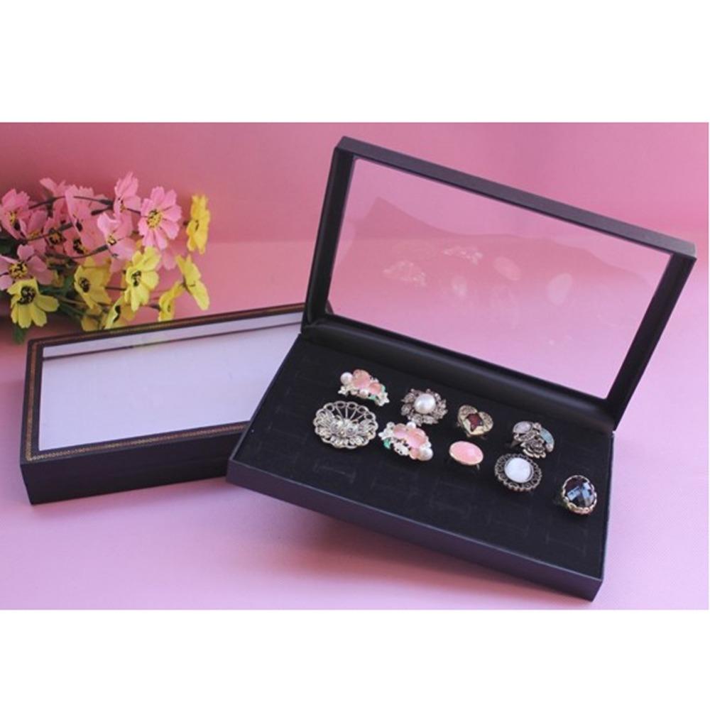 1 pcs 36 Slots Black Velvet Rings Jewelry Showcase Display Case Box Holder Organizer free shipping(China (Mainland))