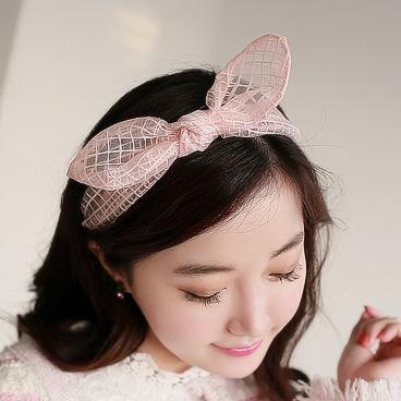 Korean Lace yarn soft iron grid subnet rabbit ears headband bow four colors(China (Mainland))