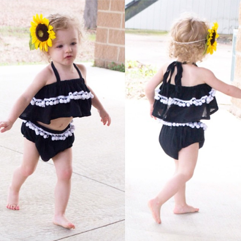 2016 INS Baby Store Baby Toddler Girl's Black Camisole Halters Tank Top + Short Pant 2pcs/set Beach Wear Clothing 12M-4T(China (Mainland))