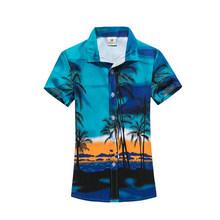 Для мужчин s Гавайский стиль рубашки короткий рукав Тропический Принт спортивная рубашка Slim Fit цветочный блузка для мужчин/женщин пара брен...(China)