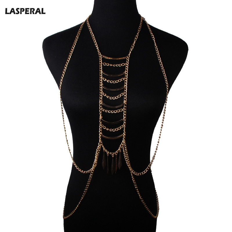 LASPERAL Summer Fashion Women Sexy Body Jewelry 1PC Gold Plated Stepped Multilayer Tassel Body Chain Necklace For Sexy Lady 52cm(China (Mainland))