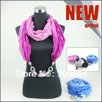2014 New Spring Woman Jewelled Beaded Pendant Necklace Scarf Mixed Colors Wholesale Factory Supply Directly