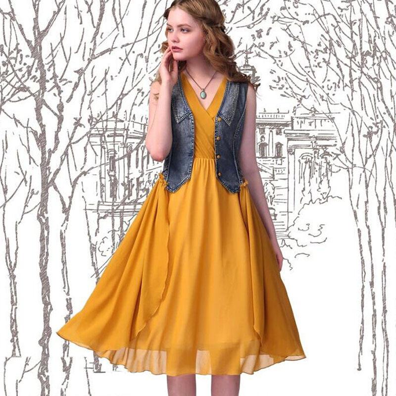 2015 Summer Women's Sleeveless Slim Chiffon Dress Bohemian Two -Piece Denim Chiffon Vintage Dress Artka Style Ethnic Dress