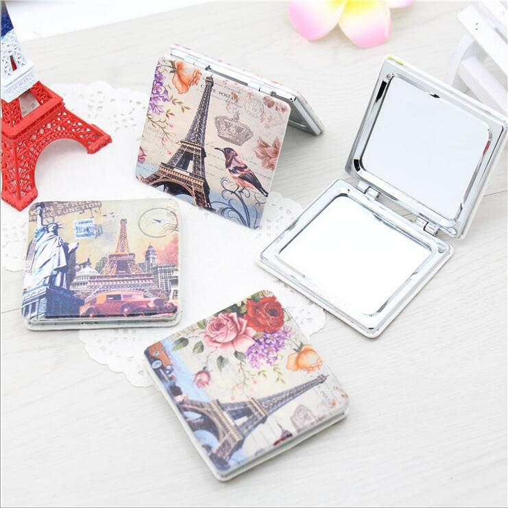 2016 maquillaje espejo Eiffel Tower PU Portable pocket mirror two sides foldable make up mirror crystal