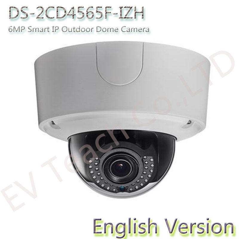 English version DS-2CD4565F-IZH 6MP Smart IP Outdoor Dome Camera vari focal lens cctv camera POE Heater Slow shutter(China (Mainland))