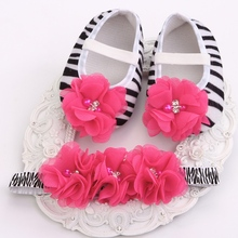 Zebra Rhinestone/pearl sapato shoe bebe,Flower Baby Ballerina Vintage Rhinestone Baby Shoes first walkers Headbands set #2T0009(China (Mainland))