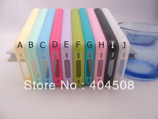 2pcs/lot colorful cell phone case for iphone 4 4s 5 5g Matte Frosted clear Hard Back Cover shell mobile case Bumper Frame