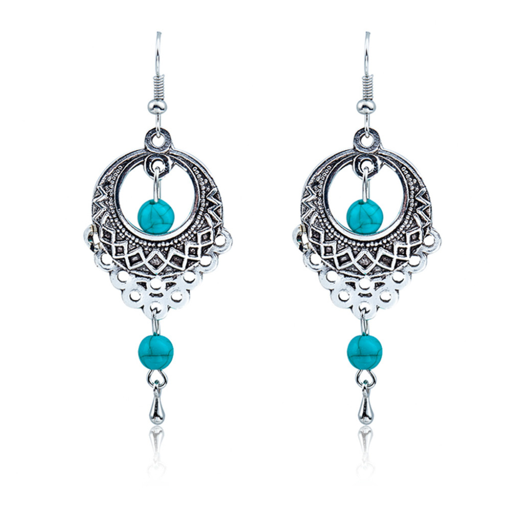 Ethnic Bohemia Drop Earrings For Women Silver Color Blue Beads Earring Big Long Tassel Statement Charm Vintage Jewelry(China (Mainland))