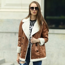 Veri Gude Faux Leather Coat for Winter Fleece Liner Faux Fur Collar Mid-length Good for Winter(China (Mainland))