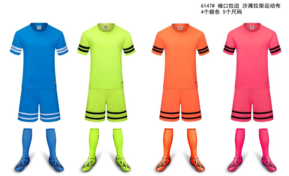 2016 news mens blank football adult running uniform Soccer Jersey sets football suit team soccer jerseys training shirt(China (Mainland))