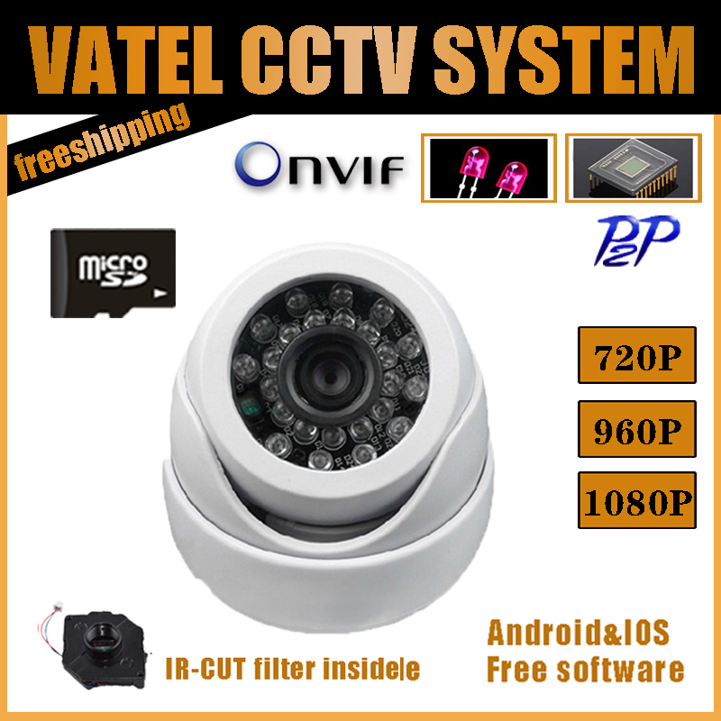 IP Camera 720P 960P Plastic Dome Camera 32GB SD Card Network Onvif P2P Indoor Security 24IR Night Safety protection system(China (Mainland))