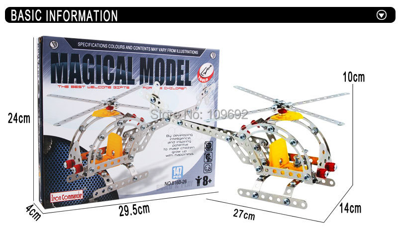 Free delivery 3d DIY metallic assembled a static mannequin airplane instructional toys One-man helicopter 816 b – 26