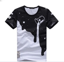 2015 New Mens Summer Tops Tees Short Sleeve t shirt Man Plus Size Start Printed Cotton t-shirt Men Brand 3D Designer Clothing