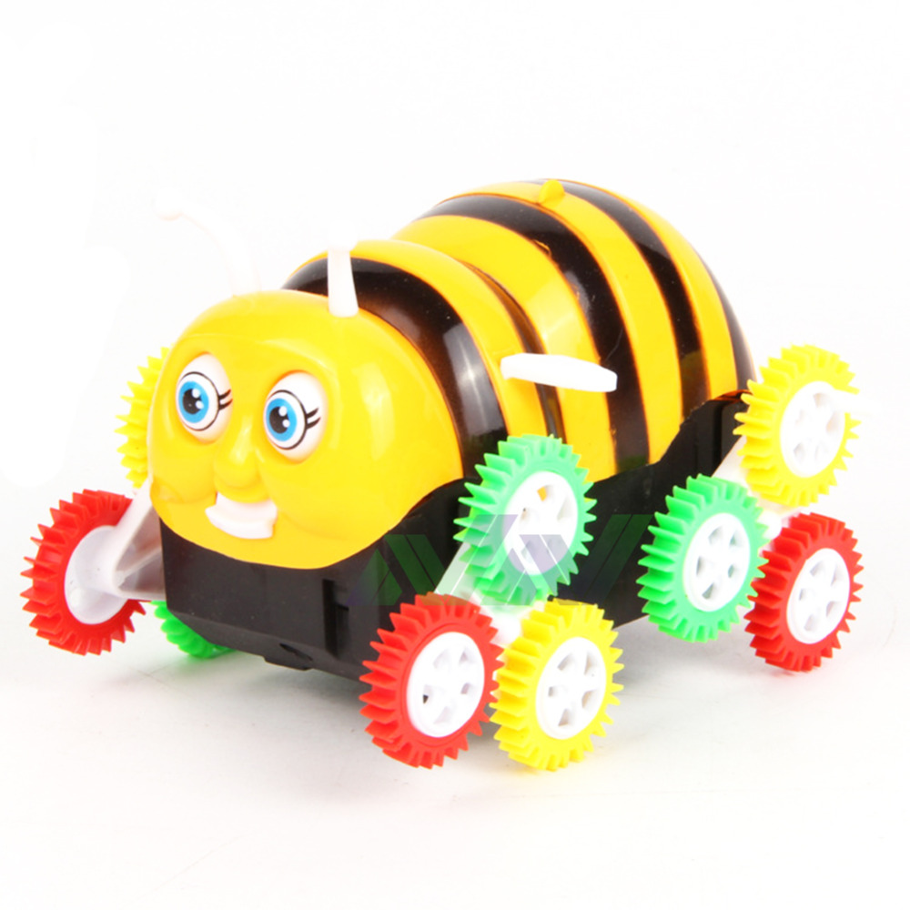 2016 New Free Shipping Cartoon Electric Toy Car Little Bee Skip Automatically Turning Children Electric Strange New Toy(China (Mainland))