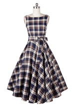 Vintage retro 50s 60s dress V blackless autumn winter plaid bow tutu big swing rockabilly party prom long audrey - Hangzhou Boby Technology Co., Ltd store