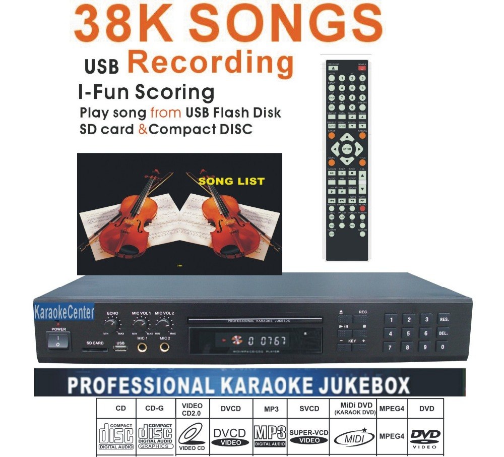 Karaoke Player Machine system w/ 40000 MIDI songs DVD/DviX 2Mics karaoke Recorder,Play song from USB /SD card/Disc(China (Mainland))