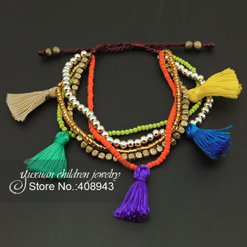 Bohemian National Bracelets Handmade beads multi-Color tassel bracelet Fashion children jewelry for baby/girl!Free shipping!S-97