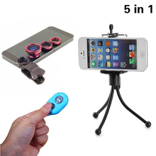 Buy Universal 5in1 Phone Camera Lenses Kit Fisheye Lens Wide Angle Macro Lentes Clips Tripod Shutter iPhone 5 6 7 Samsung Huawei for $4.18 in AliExpress store