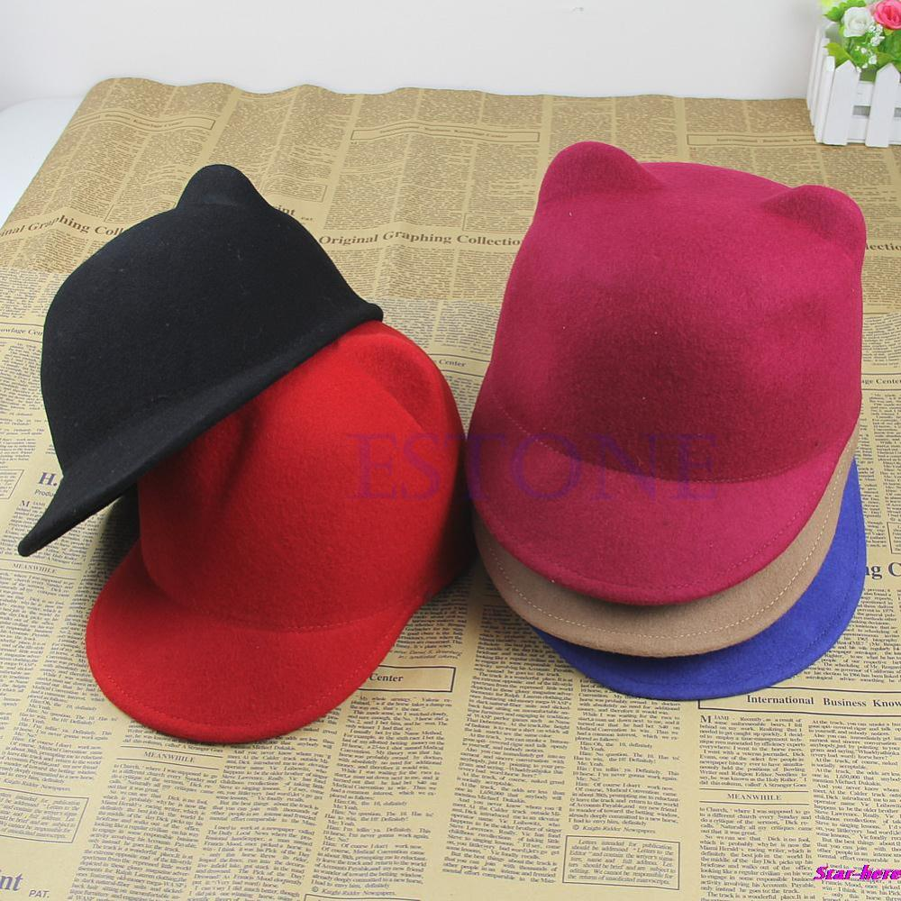 Fashion Winter Fashion Women Devil Hat Cute Kitty Cat Ears Wool Derby Bowler Cap Free Shipping(China (Mainland))