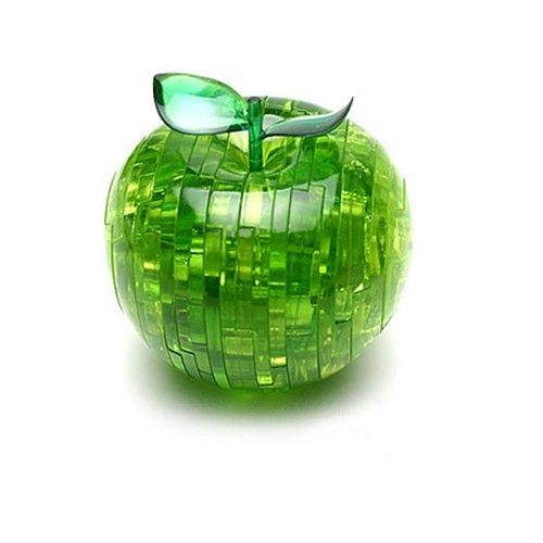 Free shipping 3D Plastic Toys Green Apple Decorative Crystal Jigsaw Puzzle + Light(Hong Kong)