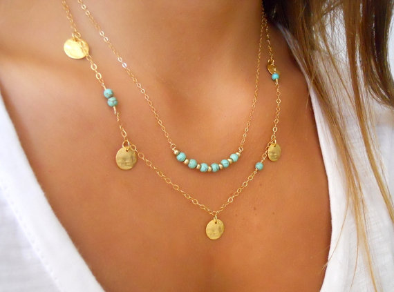 Simple Silver and gold coin kallaite bead double chain necklace for women free shipping(China (Mainland))