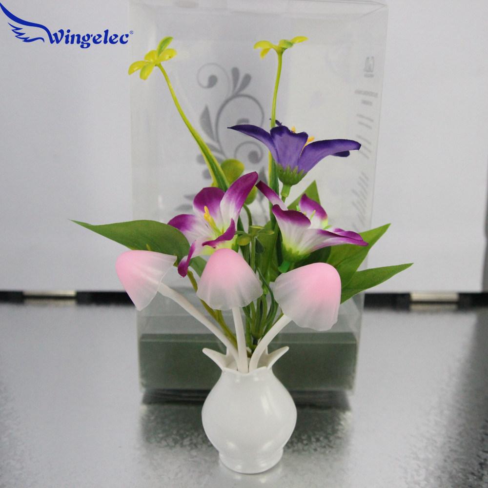 4PCS/Lot Hot Sale 220V 0.2W LED Night Light Corn Colorful LED Mushroom Lily flower Dream Lamp Home Decoration lampada warm white(China (Mainland))