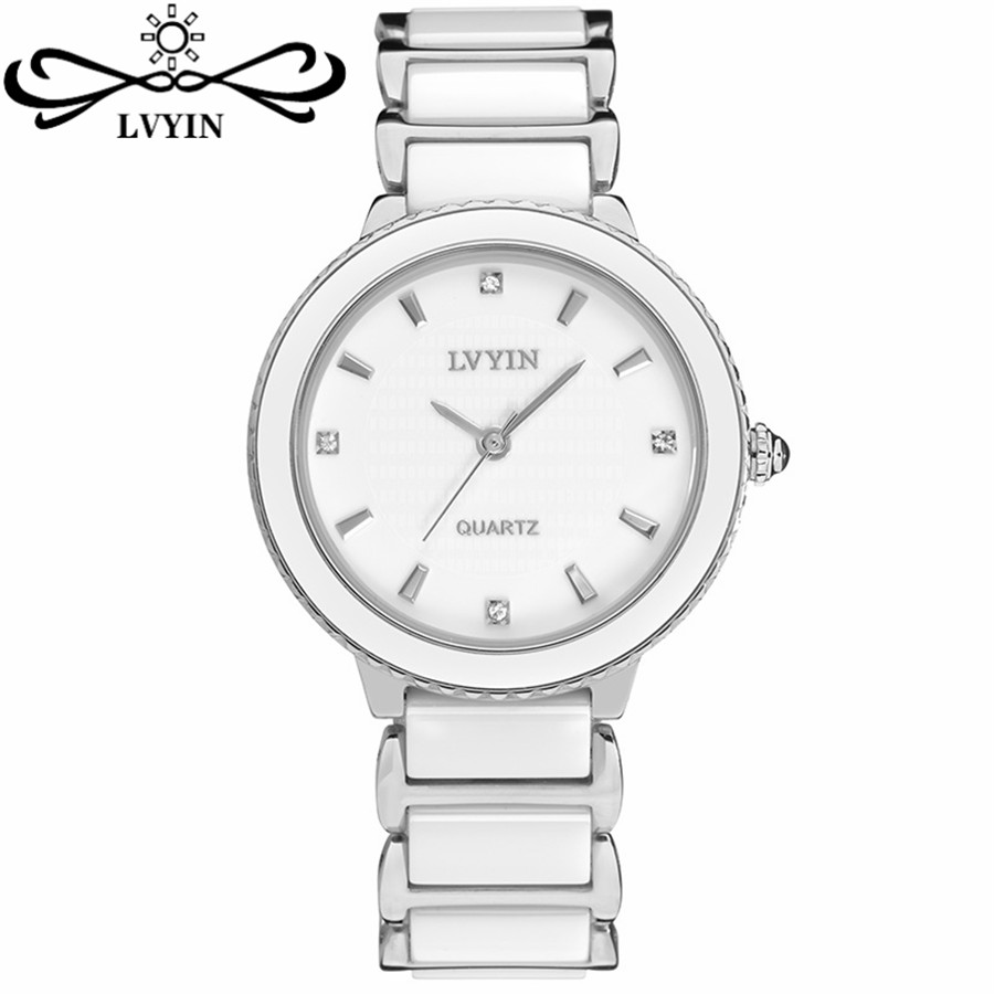 Fashion Silver White Ceramic Watch Ladies Women Girls Quartz Analog Watch 10601-07<br><br>Aliexpress