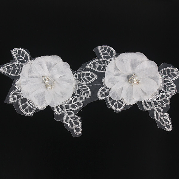 SK Beaded Trim Silver Metallic Applique Trimming Satin Flower Trim Organza Embroidered Sewing Supplies for Wedding Dress 10yd/T1(China (Mainland))