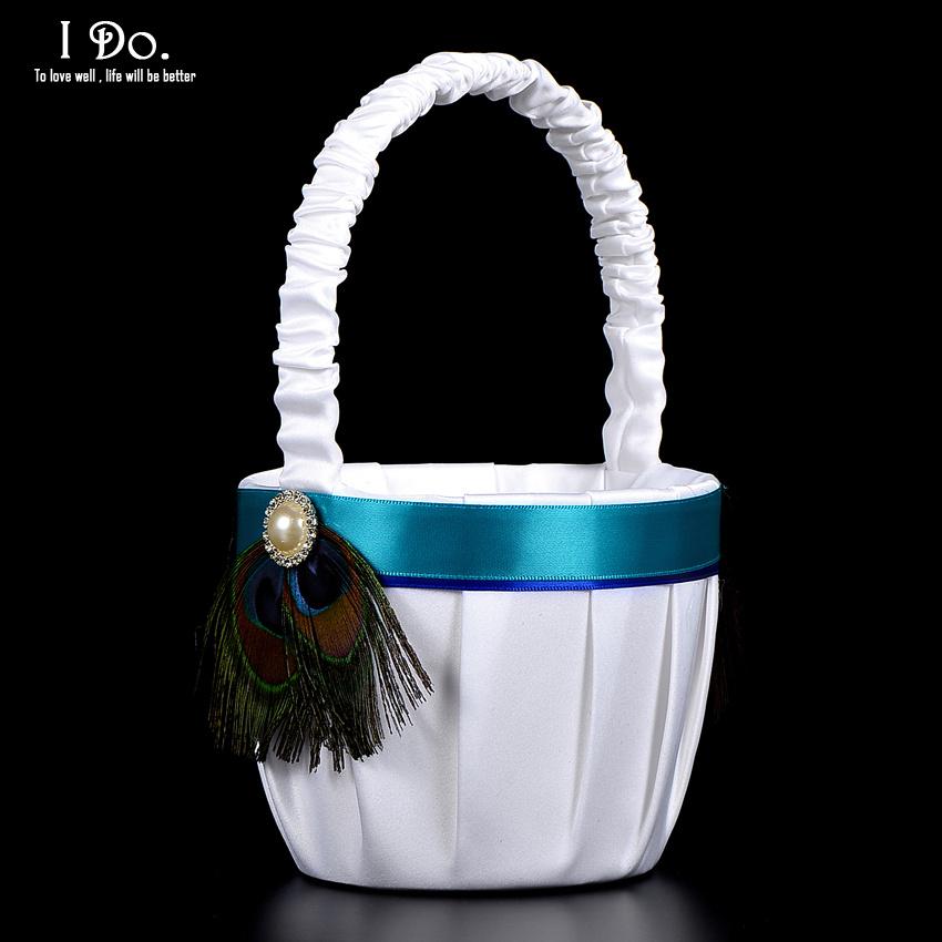 Flower Girl Basket Kit : Aliexpress buy free shipping peacock feather white