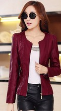 Motorcycle leather jacket women 2015 spring and autumn clothing leather coat slim fashion short leather jackets big size 5XL(China (Mainland))