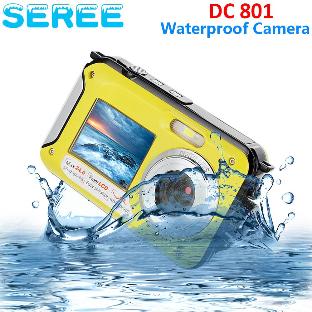 Seree 2.7inch TFT Digital Camera Waterproof 24MP MAX 1080P Double Screen 16x Digital Zoom Camcorder Video Recorder(China (Mainland))