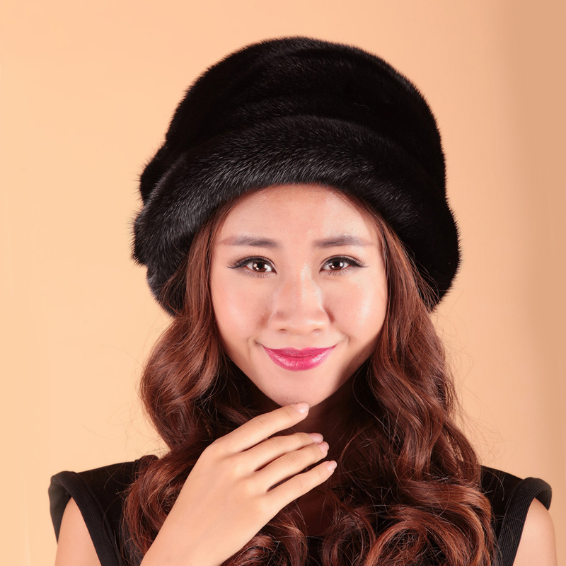 European Style Casual Women Real Mink Fur Hat Knit Hat Nature Mink Fur Headgear Winter Female Beanies Caps MH-014(China (Mainland))