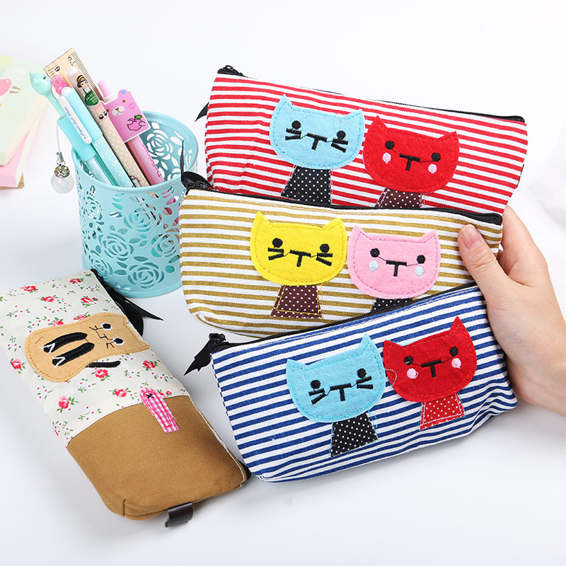 New Arrival High Quality School Supplies Lovely Cat Pattern Pencil Case Cute Canvas Pencil Bag Large Capacity Storage Bag W2.0(China (Mainland))